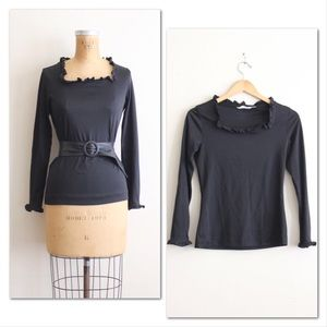 Vintage 1960s black goth top, ruffled scoop neck